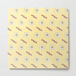 Eggs and Bacon Breakfast Foodie Funny Pattern Metal Print