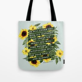 He Will Cover You Tote Bag