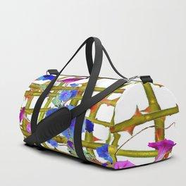 BLUE MORNING GLORIES THORN LATTICE DESIGN Duffle Bag