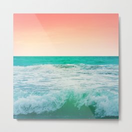 Aqua and Coral, 3 Metal Print