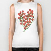 tulips Biker Tanks featuring Tulips by June Chang Studio