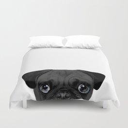 Black Pug, Original painting by miart Duvet Cover