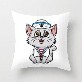 SAILOR CAT Marine Nautic Sailing Anchor Ship Boat Throw Pillow