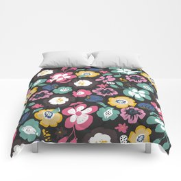 flower garden at night retro pattern Comforters