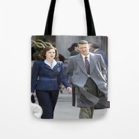 peggy carter Tote Bags featuring Jack Thompson & Peggy Carter - Agent Carter. by agentcarter23