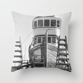 Shipyard Wooden Boat Fishing Ladders Black White Industrial Boatyard Northwest Shipwright Throw Pillow
