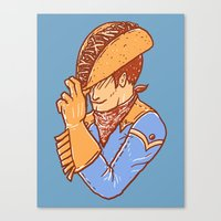taco Canvas Prints featuring Taco Cowboy by Jonah Makes Artstuff