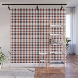 Plaid Red White And Blue Lumberjack Flannel Design Wall Mural