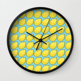 Lemons on Bright Blue Wall Clock
