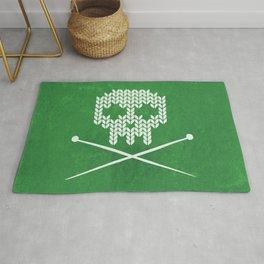 Knitted Skull - White on Deep Green Rug