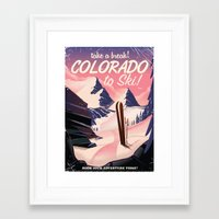 travel poster Framed Art Prints featuring Colorado Ski travel poster by Nick's Emporium
