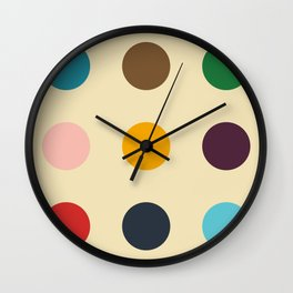 Knockers - Colorful Dots on Beige Wall Clock