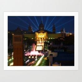 Barcelona at Night Art Print