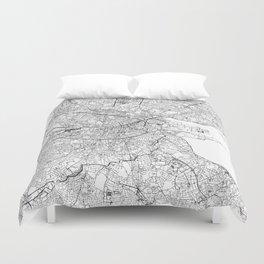 Dublin White Map Duvet Cover