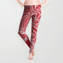 Modern red flame scarlet white hand drawn floral mandala pattern Leggings