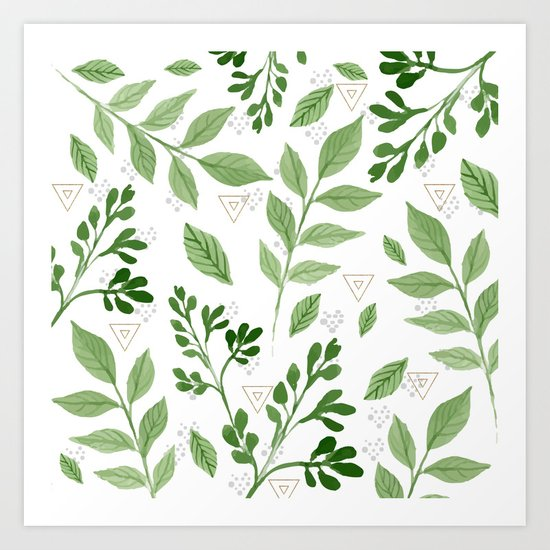 Plants with triangles Art Print