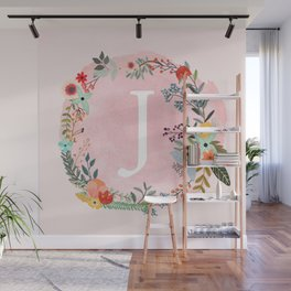 Flower Wreath with Personalized Monogram Initial Letter J on Pink Watercolor Paper Texture Artwork Wall Mural