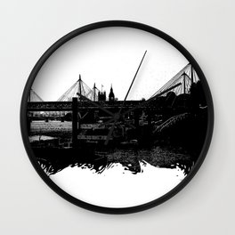 Thames skyline in black and white, London, UK Wall Clock