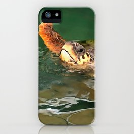 Hands Up For A Plastic Free Ocean Loggerhead Turtle iPhone Case