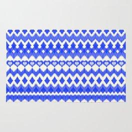 Ikat Pattern in Cobalt Blue & White Rug