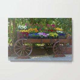 Spring Flowers in Cart Metal Print