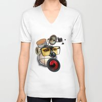 industrial V-neck T-shirts featuring industrial existence by Vin Zzep