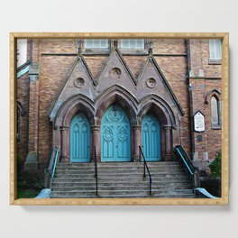 Three Turquoise Doors  Serving Tray