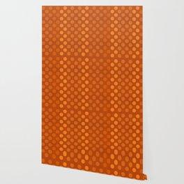 """Orange Burlap Texture & Polka Dots"" Wallpaper"