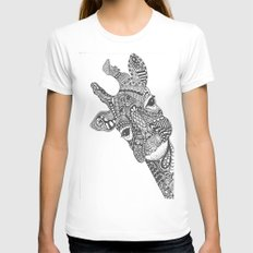 Zentangle Giraffe White Womens Fitted Tee X-LARGE