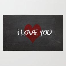Valentines I love you Chalkboard Design Rug