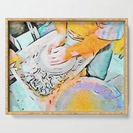 Hands of the ceramist craftsman Serving Tray