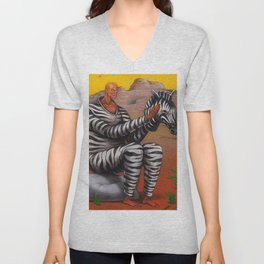 African American Masterpiece 'Alternate Reality' Portrait Painting Unisex V-Neck
