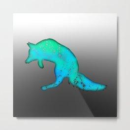 Neon Blue-Green Galaxy Jumping Fox on Grey Ombré Background Metal Print