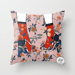 Fashion Illustration Shoe Floral Design Throw Pillow