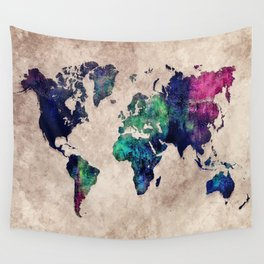 World map watercolor 1 Wall Tapestry