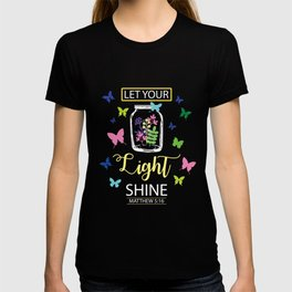 Let Your Light Shine Flowers Butterfly Christian T-shirt