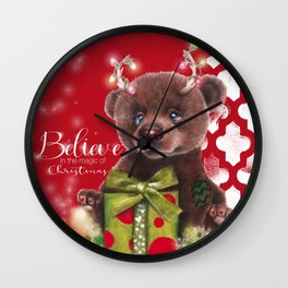 Bruno Christmas Bear (Rudolph Fan) Wall Clock