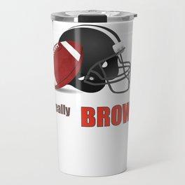 True Brown American Football Design black lettering Travel Mug