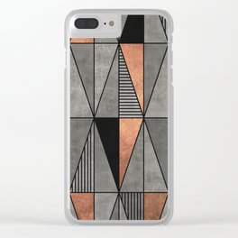 Concrete and Copper Triangles Clear iPhone Case