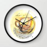 coffe Wall Clocks featuring coffe love by Olga Chekalkina
