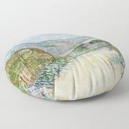 Vegetable Gardens at Montmartre by Vincent van Gogh Floor Pillow