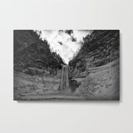 Taughannock Falls State Park in winter (black and white) Metal Print