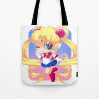 sailor moon Tote Bags featuring Sailor Moon by Corpse Cutie
