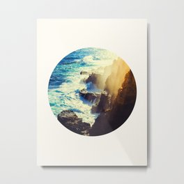 Mid Century Modern Round Circle Photo Graphic Design Blue Waters Rocky Shores With Sunlight Metal Print