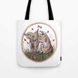 Tiger, Baby Elephant, and Mouse Playing in Poppies Tote Bag