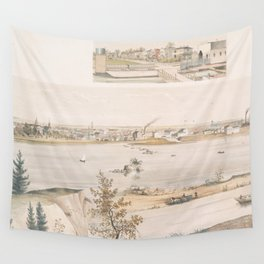 Vintage Pictorial View of Trenton NJ (1851) Wall Tapestry