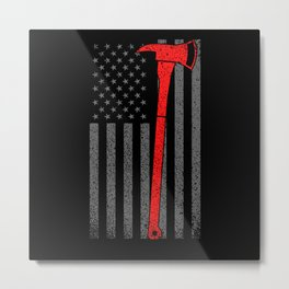 American Fire Department Ax Rescue Motive Metal Print