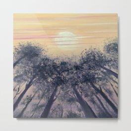 Moon and trees at Dusk Metal Print