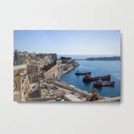 View of Valletta's harbour from the top of the city Metal Print