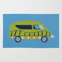 1975 Area & Throw Rugs featuring Death Race 2000 Alligator Van by Brandon Ortwein
